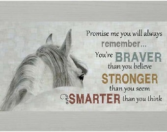 """Promise Me You'll Always Remember Horse Adult Pooh Picture Framed Art  16x28 """""""