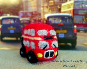Needle felted double decker bus