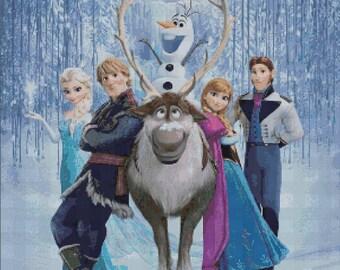 Counted Cross Stitch Pattern, Disney Frozen, Elsa, Anna, Olaf, Sven, Kristoff, Frozen, Instant Download, PDF Pattern