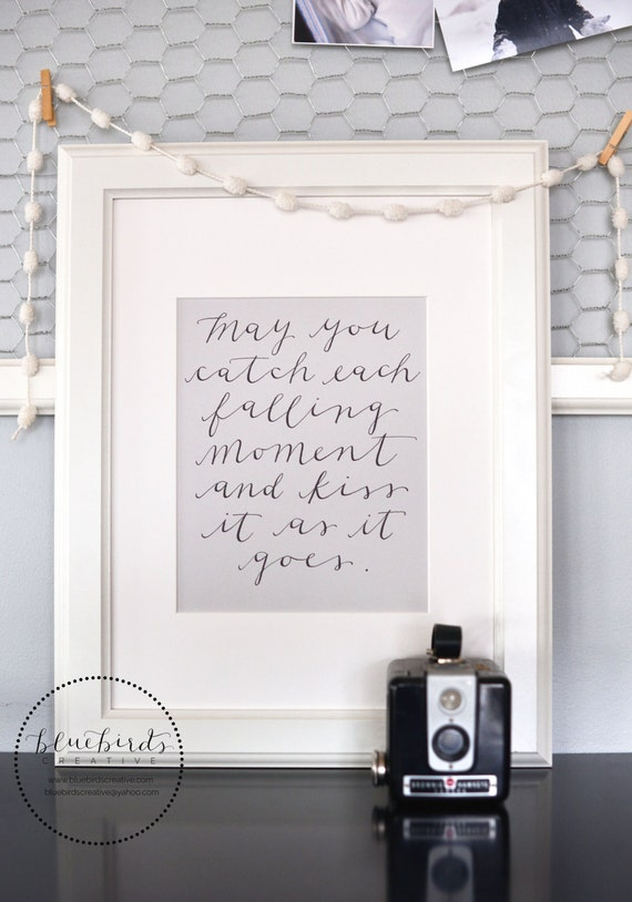 Falling Moments--8 x 10 Calligraphy art print