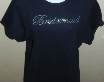 CLEARANCE - 2X Bridesmaid Rhinestone Fitted T-shirt