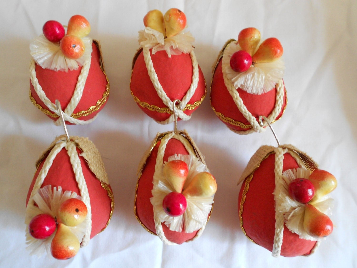 Papier Mache Eggs from Germany - Vintage Ornaments