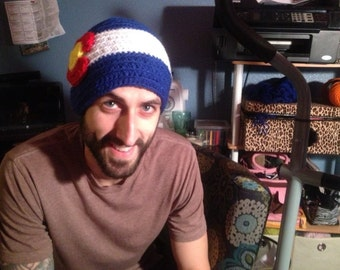 Colorado flag beanie. One size fits almost every grown up noodle!