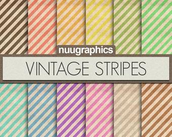 """Stripe digital paper: """"VINTAGE STRIPES"""" with old backgrounds, stripe patterns, in black, red, orange, green, blue, pink, purple"""