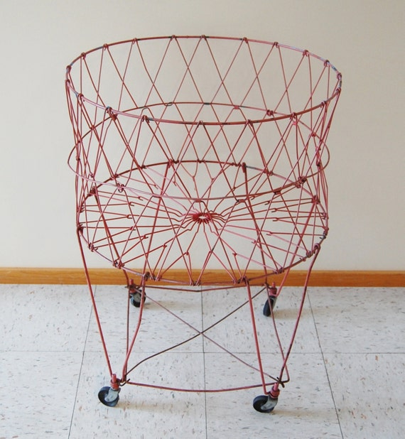 red vintage rolling wire laundry basket with wheels casters folding collapsible metal