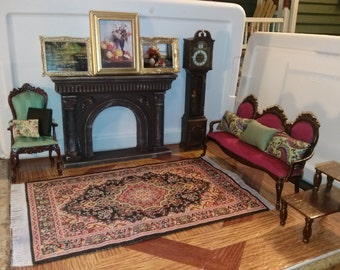 High Quality dollhouse furniture living room set lot w/ painted fireplace vintage Bespaq couch armchair Chrysnbon grandfather clock rug 1/12