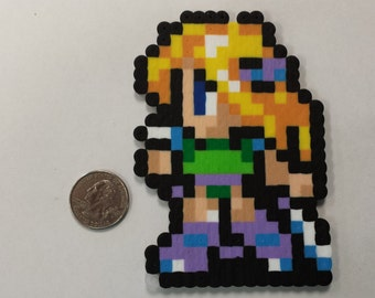 Final Fantasy VI Celes Chere in battle pose perler bead sprite