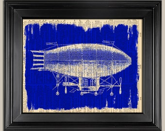 """Blimp - French Airship  Vintage Blueprint Style print.. Printed dictionary page.   Fits 8""""x10"""" frame. Father's Day gift for Dad."""