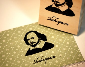 Hand carved rubber stamp - William Shakespeare.