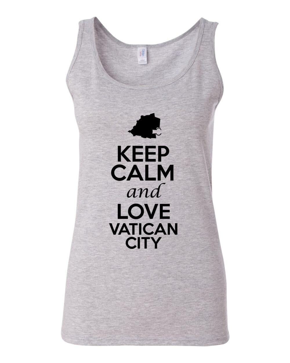 City Shirts Junior Keep Calm And Love Vatican City Novelty Statement Sleeveless Tank Top 1054 at Sears.com