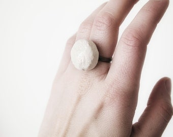 Ceramic ring, handmade patterned, adjustable!