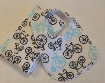 Baby bib and burp cloth set in Michael Miller bicycles