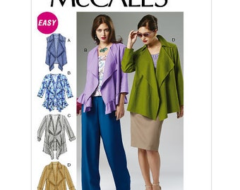 McCall's Sewing Pattern M6516 Misses' Unlined Vest and Jackets