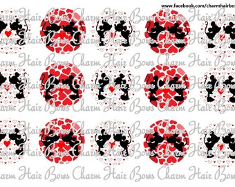 mickey and minnie Valentines day bottle cap images