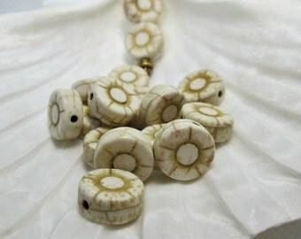 White Cream Stone Flower Bead, Natural Magnesite Bead, 12mm, (16)