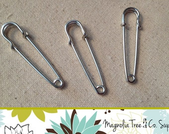 "Two Inch Kilt Pin, Brooch Pin, Two Inch Kilt Pin, Silver Tone, Large Safety Pins, Brooches, Diaper Pin, 2"", 20 pcs (FK20)"