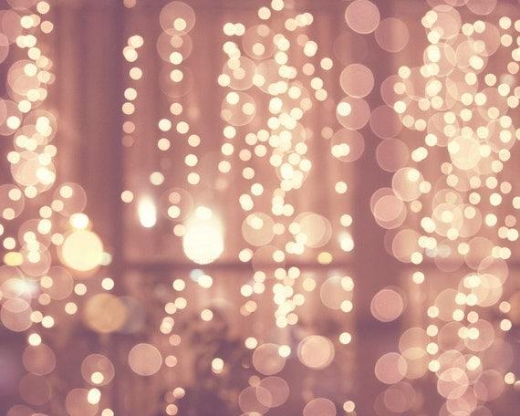 Items similar to Pink fairy lights print, Minimalist wall decor, bathroom decor, shabby chic ...
