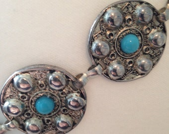 Vintage 1980s Metal Disc Belt with turquoise Stone