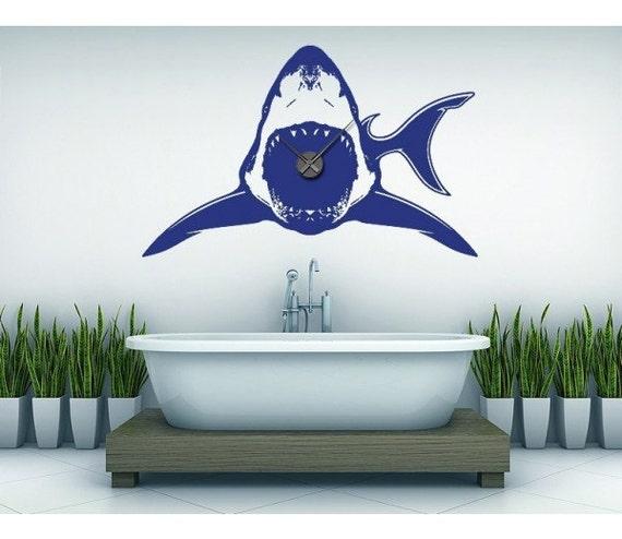 shark wall decal clock sticker mural vinyl wall art. Black Bedroom Furniture Sets. Home Design Ideas