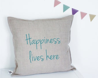 Handmade Decorative Printed Pillow Cover, Happiness lives here, Cushion cover, Natural Flax Linen, Perfect Gift, Teal, Turquoise, Throw
