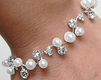 "1b Clear Crystal & Faux White Pearl Bridal Bracelet ""Wedding Sprig"" Gift Boxed"