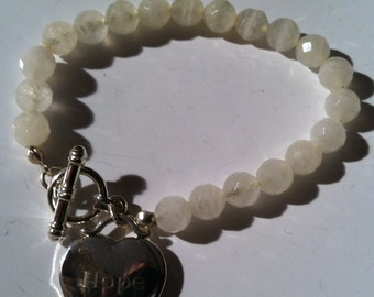 Handcrafted Round Frosted  White Crystal Quartz Beads 'Hope' Bracelet