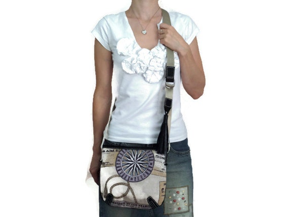 Nautical Cross Body Canvas Leather Bag/ Handmade Strap Bag