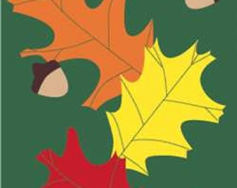 Autumn Leaves with Acorns Handcrafted Applique House Flag