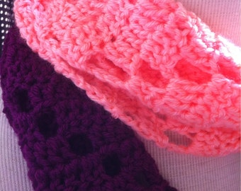 Coral & Berry Color Block Infinity Scarf