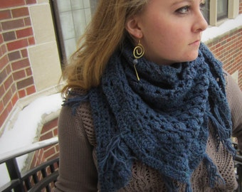 Navy Triangle Fringe Scarf