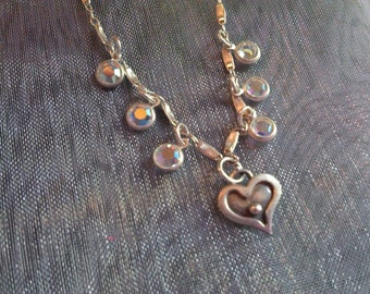 Sterling Silver & Iridescent Swarovski Austrian Crystal Necklace with Heart Pendant