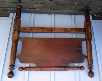 Cannon Ball Bed - 1800's American Solid Wood Turned Rope Bed