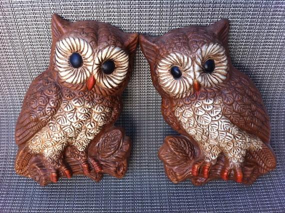 Kitschy 70's era foam owl plaques