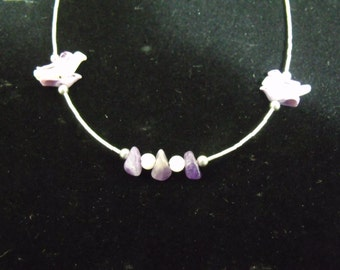 Sterling Liquid Silver Amethyst, Mother of Pearl and Shell Fly Bird Necklace - Handmade