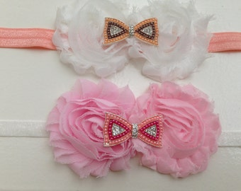 Pink and white shabby flowers headband