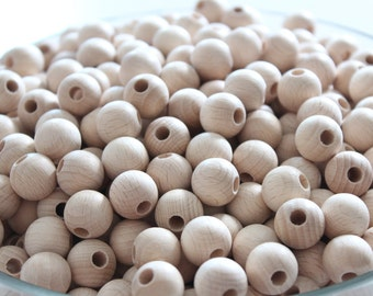 15 mm (0.59 inches) NATURAL Unfinished round wooden beads / BEECH WOOD / wooden beads for jewelry craft projects