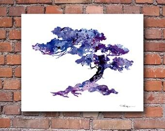 Bonsai Tree Art Print - Abstract Watercolor Painting - Wall Decor