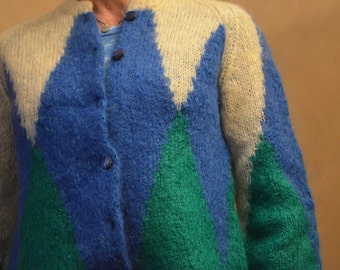 SALE -Vintage Blue, Green and Cream mohair sweater