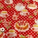 Red kawaii Japanese cotton fabric 110x100cm, teaparty, sweets, cakes