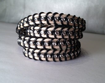 Handmade Black and White Braided Leather Wrap Bracelet, 4 Layer Wrap
