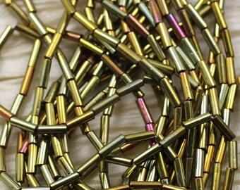"Rare find! #3 Metallic Gold Iris Bugles Czech seed beads - 1 strand 20"""