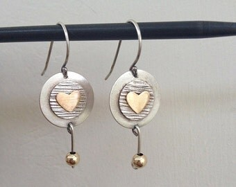 Heart silver Earrings , Sterling silver & Goldfiled , Dangle earrings ,  gift for her , Handmade ,   gold fielld , Silver heart jewel
