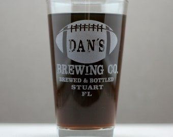 Football  Brewing Co. HomeBrew Pints (set of 2).  Home brew, fathers day gift,custom pint,engraved pint, custom Beer Glass