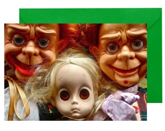 Greetings Card (Birthday) Toypincher Creeps Doll With No Name Ventriloquist Dummy A6 any Occasion Blank