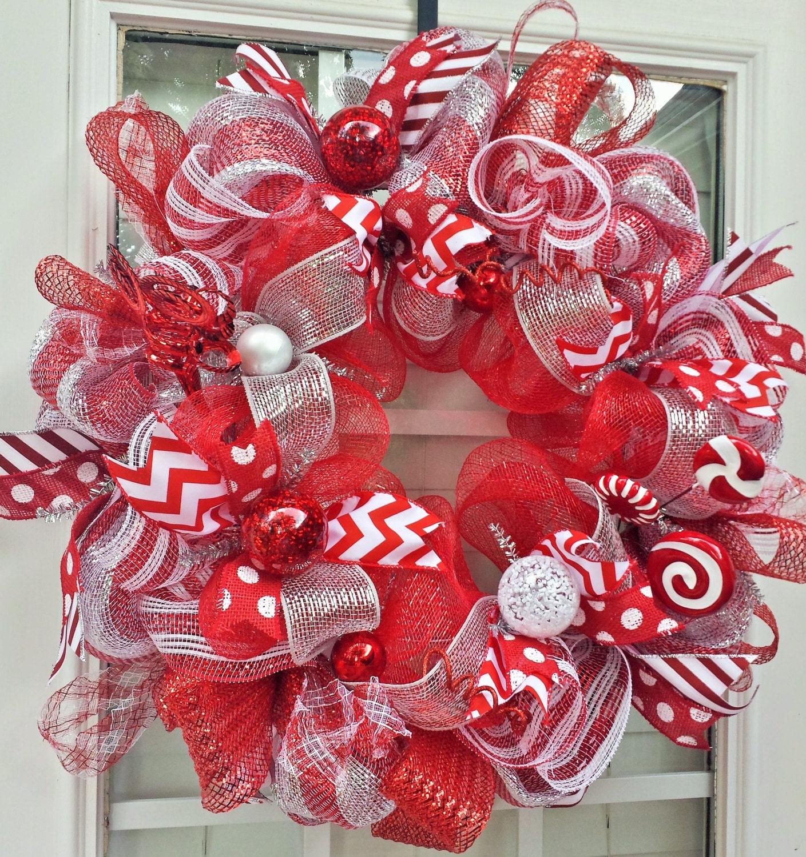 Large Red Amp White Christmas Mesh Wreath Holiday Christmas