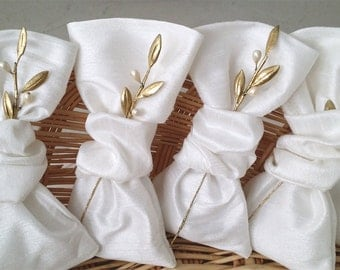 Olive Leaves Wedding Favors Greek Bombonieres Gold Olive Leaf Wedding Favor Bags Silk Favor Bags Wedding Pouches Koufeta Boubounieres