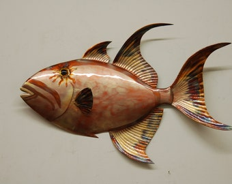 22'' Copper Queen Angelfish, Hand-formed with tools then painted with flame to give authentic markings.Then clear-coated.