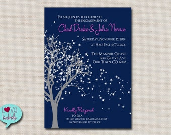 Winter Engagement Party, Rehearsal dinner, Couple's Bridal shower, Invitation, Snowflake, Frozen Tree - PRINTABLE DIGITAL FILE - 5x7
