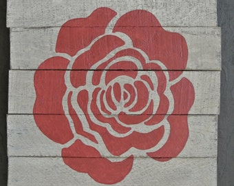 CLEARANCE 60% OFF Rose Petal Distressed Wood Wall Art Silhouette