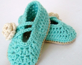 Tutorial Crochet Baby Ballet Booties : CROCHET PATTERN Baby Espadrille Sandals Easy Photo Tutorial